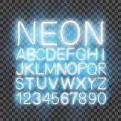 Font neon light, alphabet letter numbers, in vector format