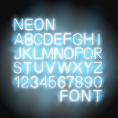 font neon light alphabet numbers in vector format