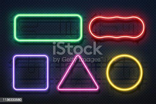 Neon light frame. Retro banner element, futuristic purple electric border, neon glow rectangle banner. Vector realistic neon lines set