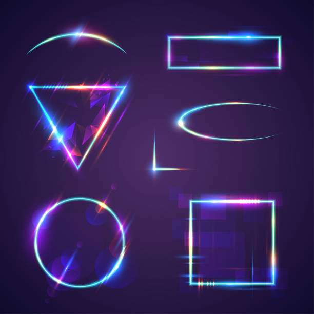 Neon light frames Neon light frames in vector casino stock illustrations