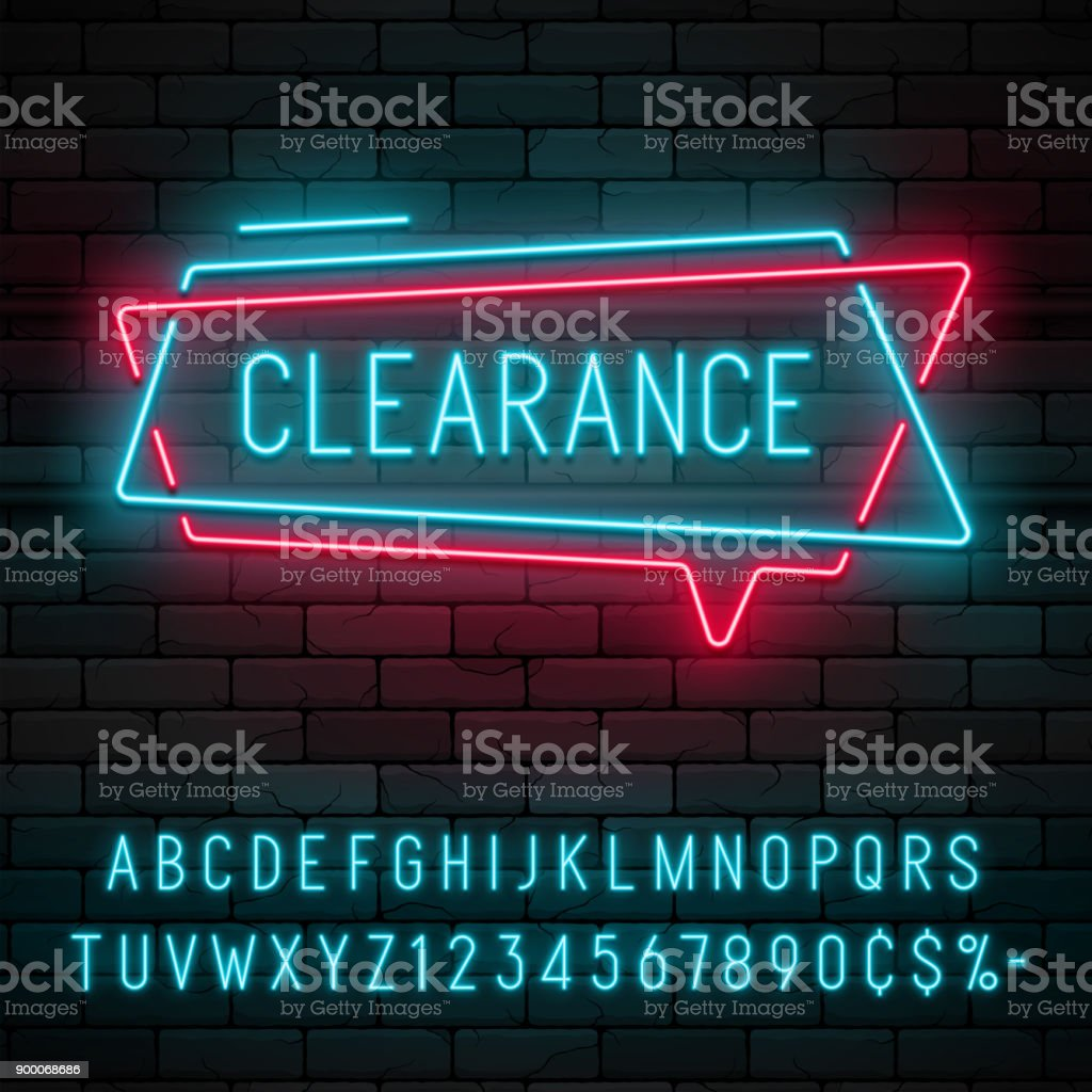 Neon light linear promotion ribbon banner, price tag, discount vector art illustration