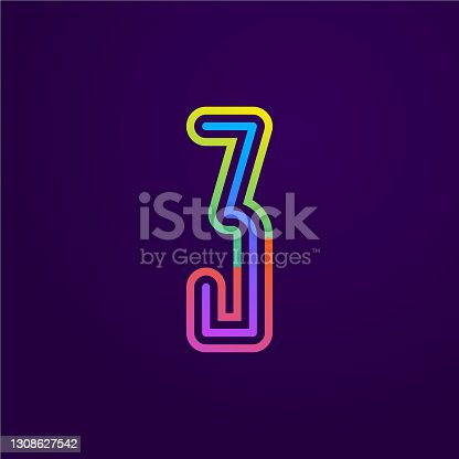 istock Neon light number three line logo. 1308627542