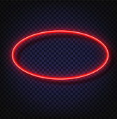 Neon light oval banner. Vector Neon light frame sign. Realistic glowing red neon oval frame isolated on transparent background. Shining and glowing neon effect