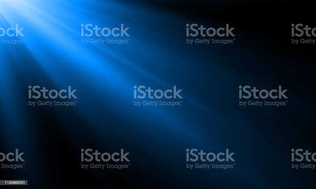 Neon light ray or sun beam vector background. Abstract blue neon light flash, spotlight backdrop with sunlight shine on black background - Grafika wektorowa royalty-free (Abstrakcja)