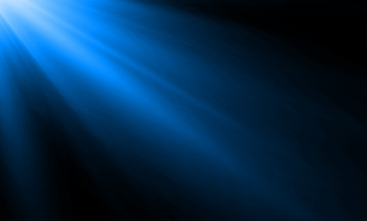 Neon light ray or sun beam vector background. Abstract blue neon light flash, spotlight backdrop with sunlight shine on black background