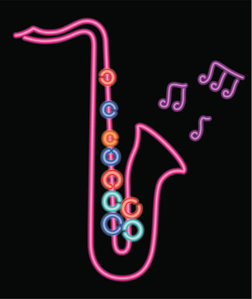 neon Saxophon – Vektorgrafik