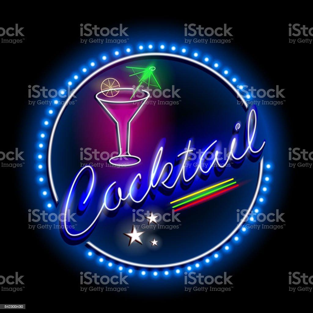 Neon Light signboard for Cocktail shop vector art illustration