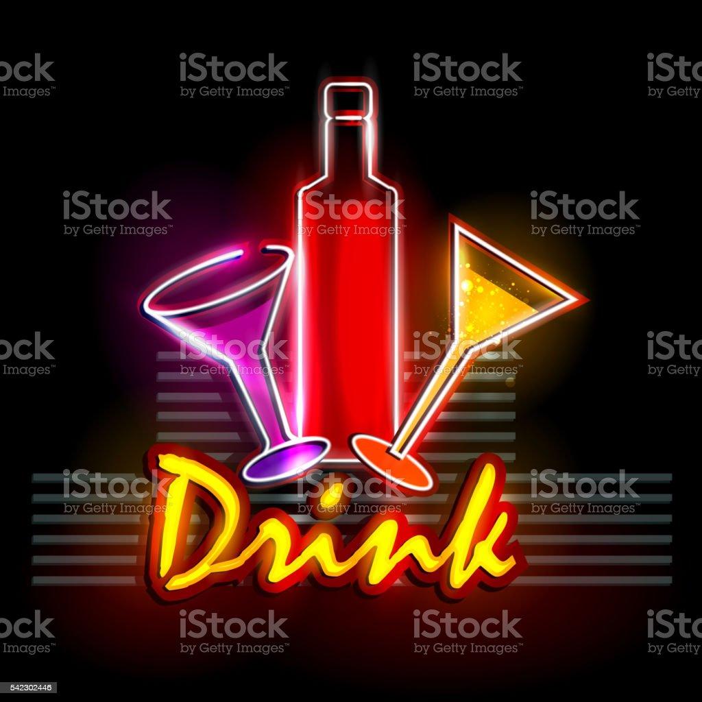 Neon Light signboard for Drink shop vector art illustration