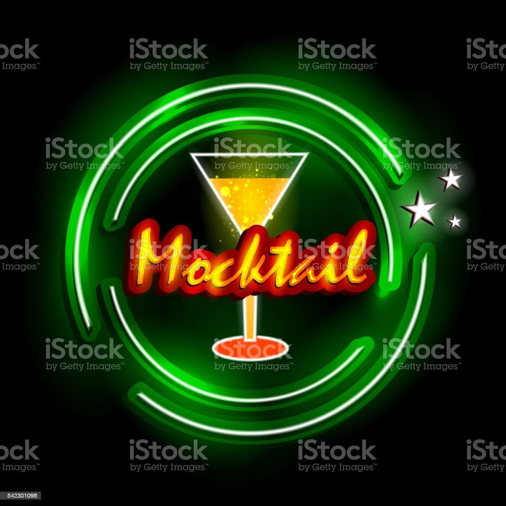 Neon Light signboard for Mocktail shop vector art illustration