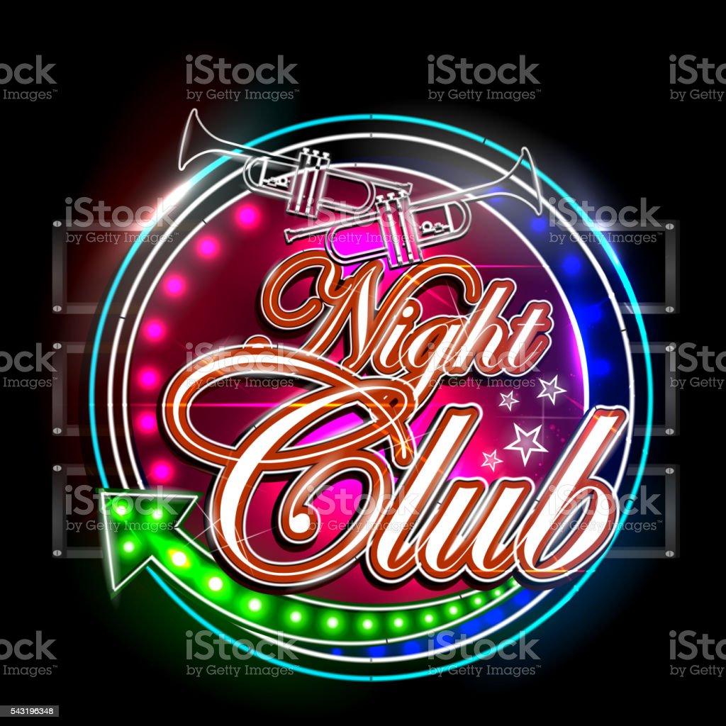 Ilustración de De Luz De Neón Letrero Para Club Nocturno y más banco ...