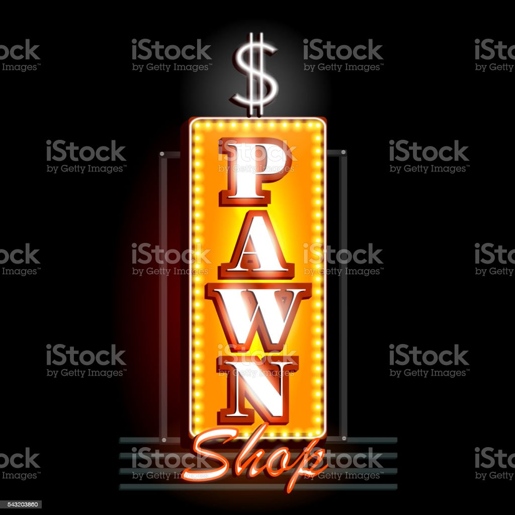 Neon Light signboard for Pawn Shop vector art illustration