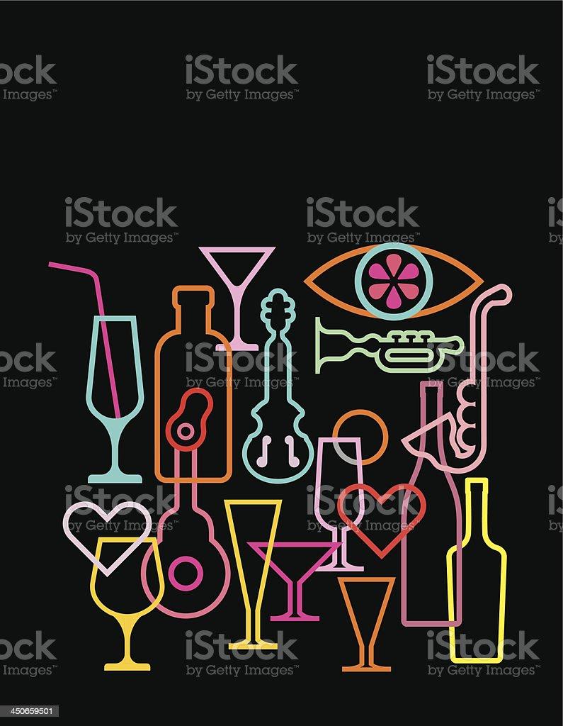 Neon light silhouettes vector art illustration