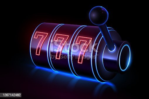 istock Neon light slot casino machine 1267142482