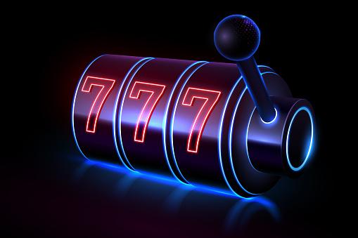 Neon light slot casino machine