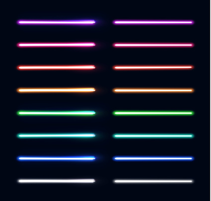 Neon light tubes set. Colorful glowing stripes collection isolated on dark blue background. Luminous elements for game design. Futuristic vector illustration. EPS 10