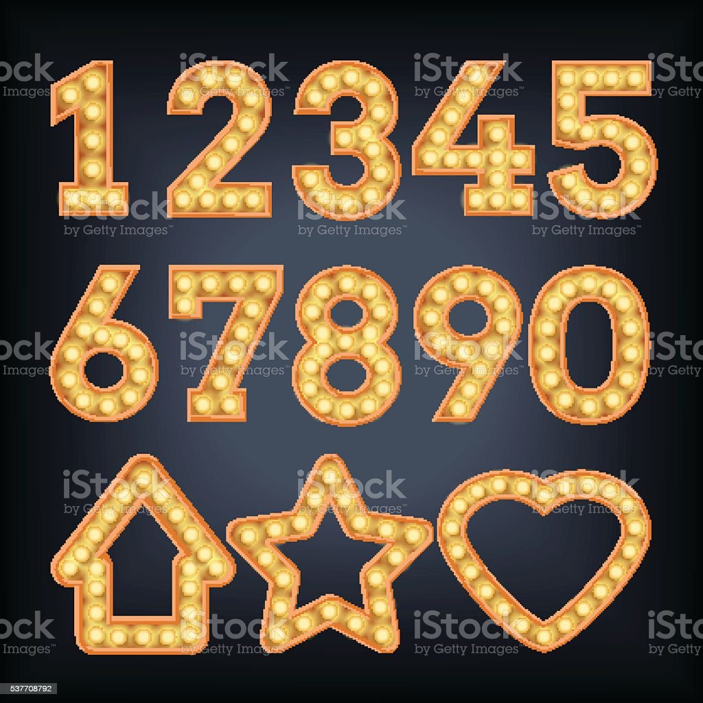 Neon Light Vector figures. Type numbers and star, heart. vector art illustration