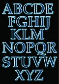 Neon Light Font, illustration contains transparency effects Opacity 9% - 95%. EPS10