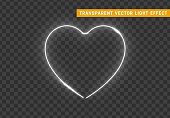 Neon light white heart with transparent background.