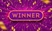 Neon light winner retro signboard and golden foil confetti against a light burst background. Vector illustration. Winner light bulb frame signboard. Winners logo.