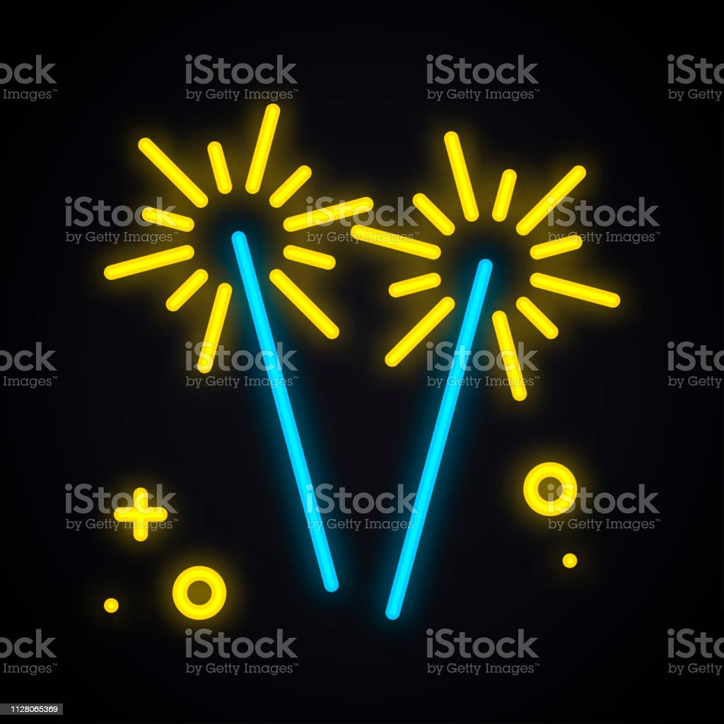 Neon Lighting Sparkler Glowing Bengal Fire Sign Bright Party