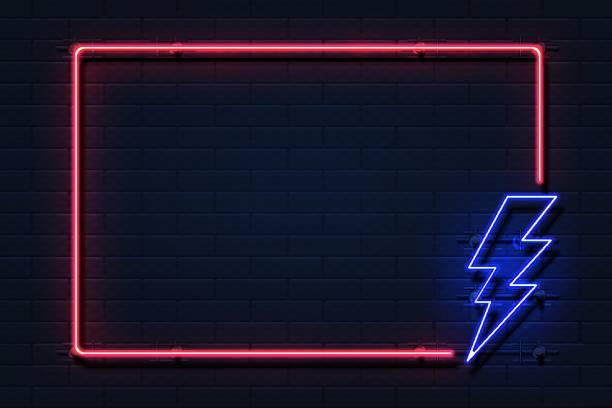네온 번개 프레임입니다. 전기 전력 전원 정전 개념 검은 배경에 로고를 플래시. 벡터 번개 보더 - 형광색의 stock illustrations