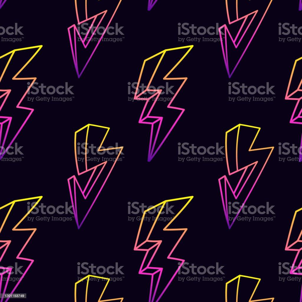 ネオンの稲妻はシームレスなパターンに当たる雷灯ベクトルの壁紙