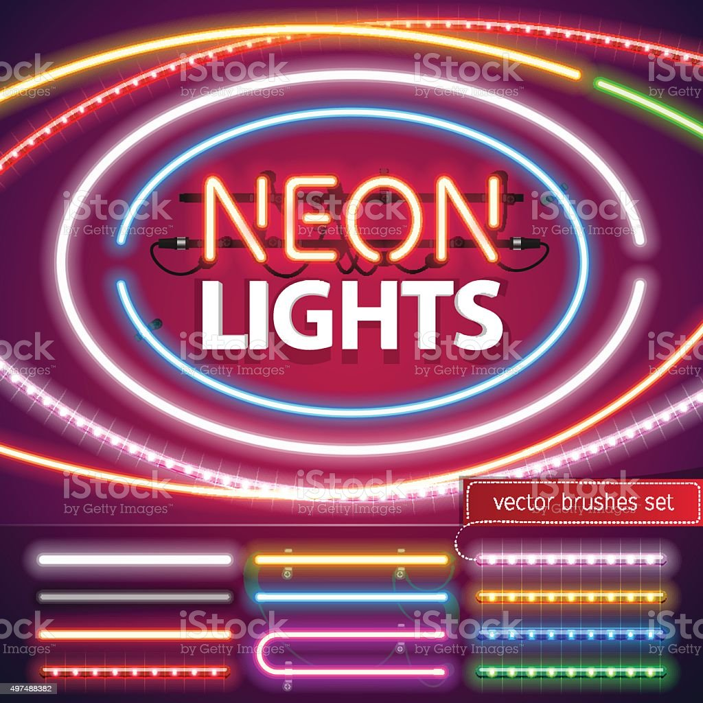 Neon Lights Decoration Set vector art illustration