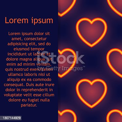 istock Neon Lights seamless pattern with glow effect, colorful shiny hearts, abstract shapes on a black background. Vector illustration 1307144929