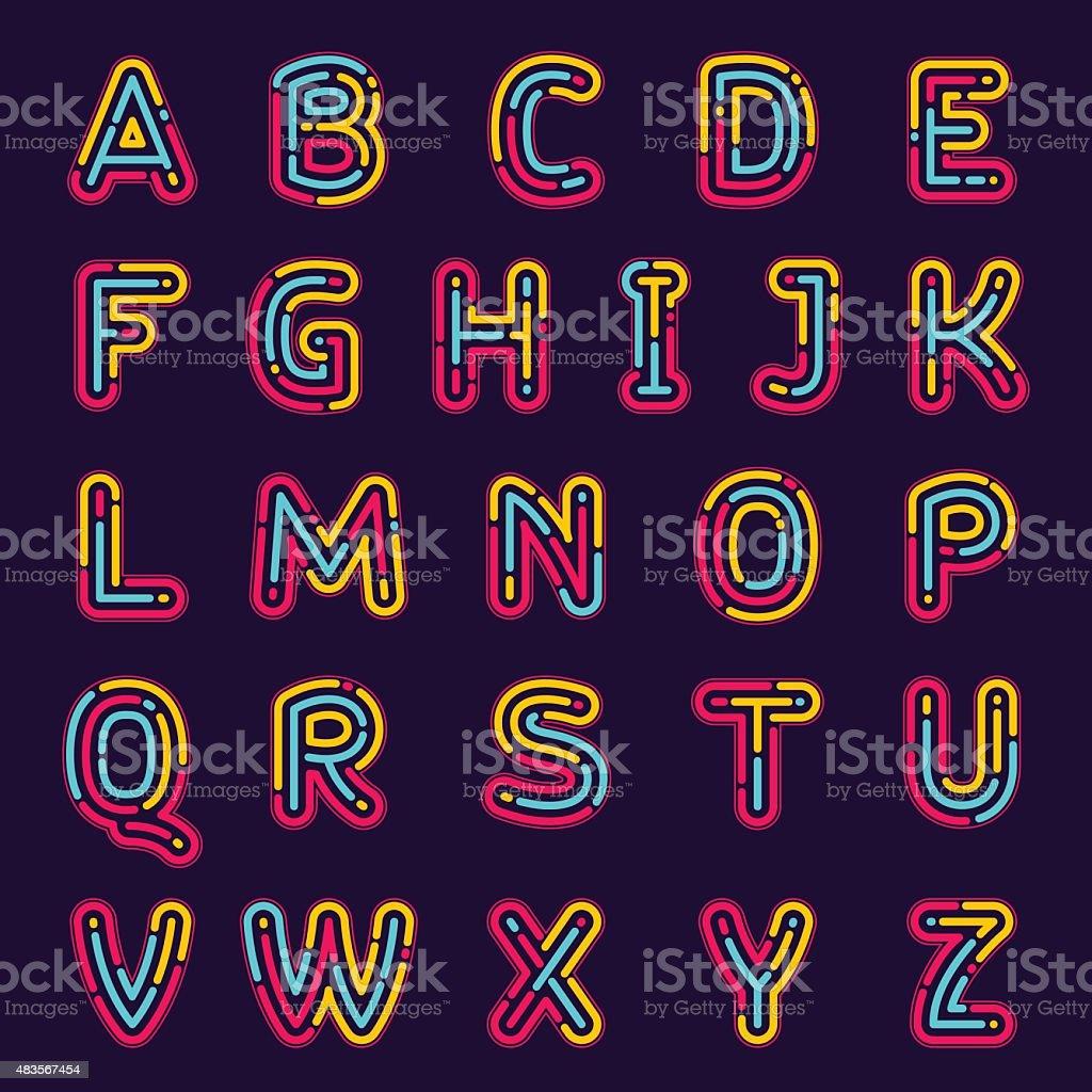 Neon line or fingerprint alphabet letters set. vector art illustration