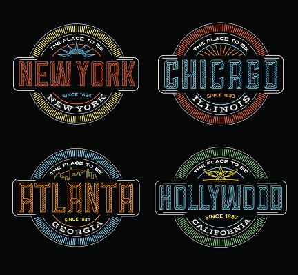 neon linear emblems for New York, Chicago, Atlanta, Hollywood