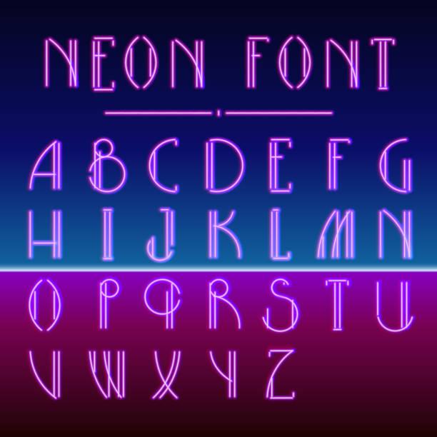 illustrazioni stock, clip art, cartoni animati e icone di tendenza di neon linear font with 80s new retro wave trendy hipster style - xx° secolo