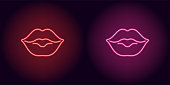 Neon lips in red and pink color. Vector illustration of neon kiss consisting of outlines, with backlight on the dark background