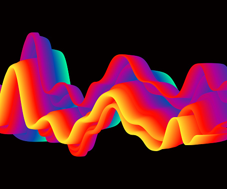 Neon liquid wave isolated on black, abstract flyer design, vector illustration. Glowing futuristic shape, pulse sound, disco club invitation concept.