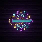 Neon Live Music sign. Light signboard with guitar and live music inscription. Vector bright advertising banner.