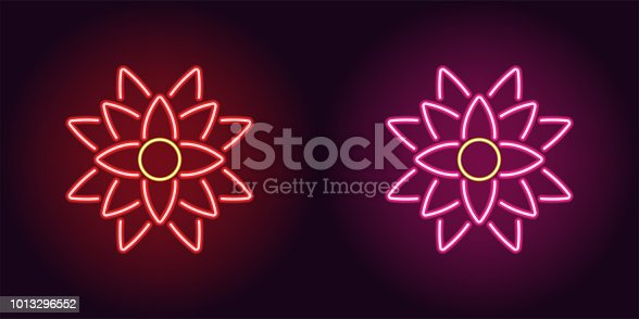 Neon lotus with backlight in red and pink color. Vector illustration of Lotus flower icon in glowing neon style. Illuminated graphic element for decoration