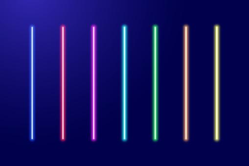 Neon luminescent glowing red, orange, yellow, green, blue, light-blue, purple, pink lines set or light laser swords. Vector illustration.