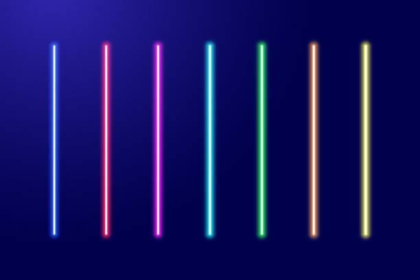 Neon luminescent glowing red, orange, yellow, green, blue, light-blue, purple, pink lines set or light laser swords. Vector illustration. Neon luminescent glowing red, orange, yellow, green, blue, light-blue, purple, pink lines set or light laser swords. Vector illustration. laser stock illustrations
