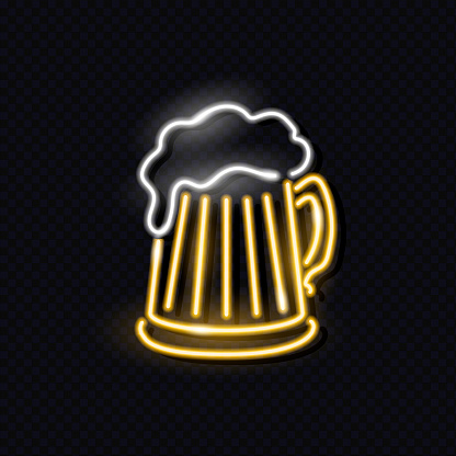 Neon mag of beer with foam isolated on dark background. Night signboard concept for logo, flyer, poster. Vector 10 EPS illustration.