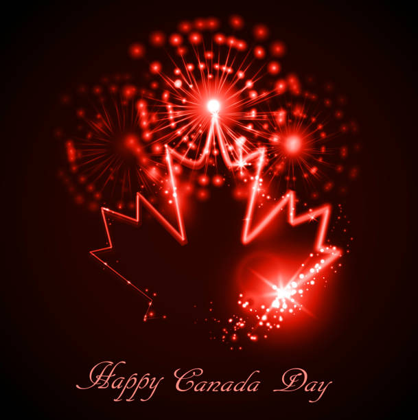 neon maple leaf on the dark - canada day stock illustrations