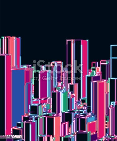 3D neon modern city building in night background