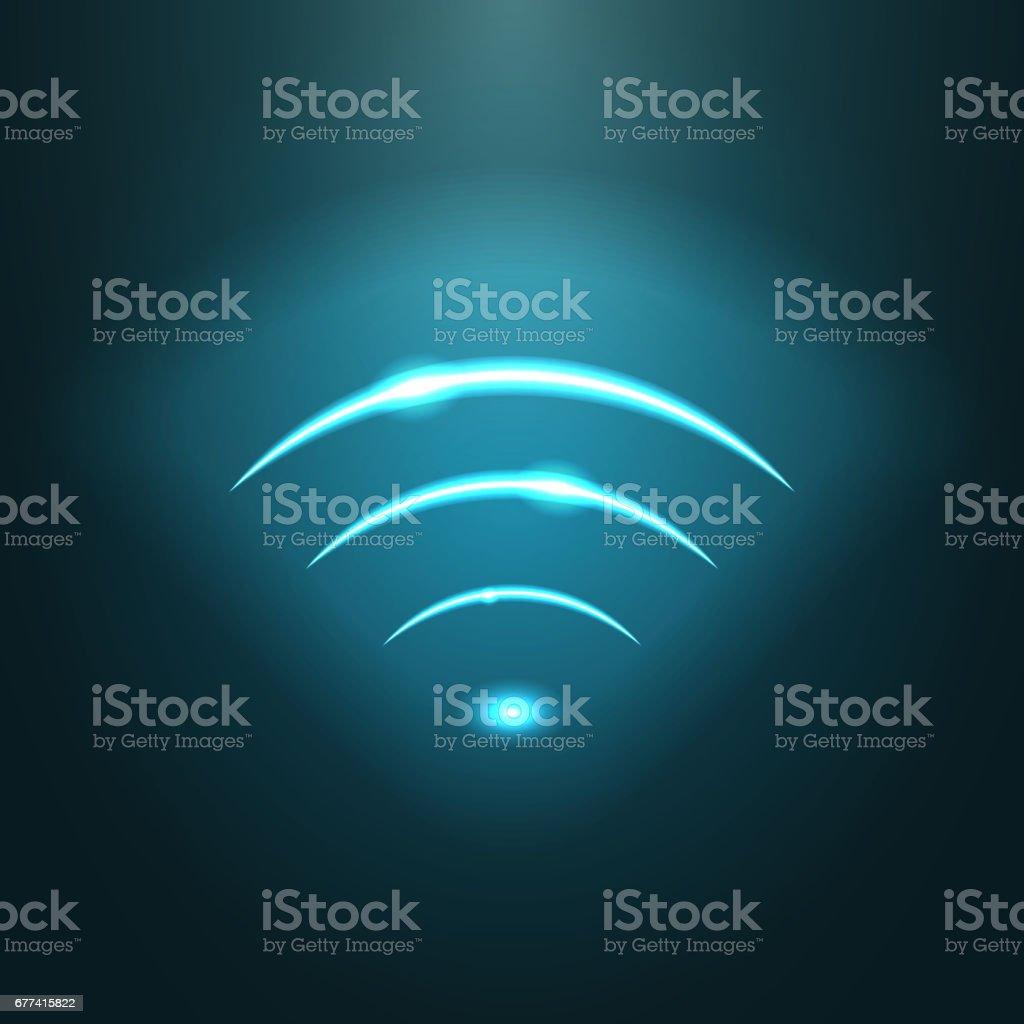 Neon modern wifi sign. EPS10 vector.