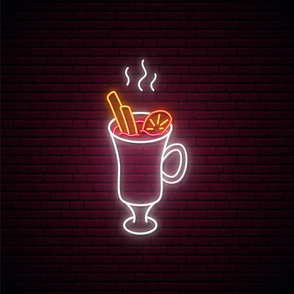 Neon Mulled Wine sign. Glowing Mulled Wine isolated on dark brick wall background. Warm winter drink neon signboard. Vector illustration.