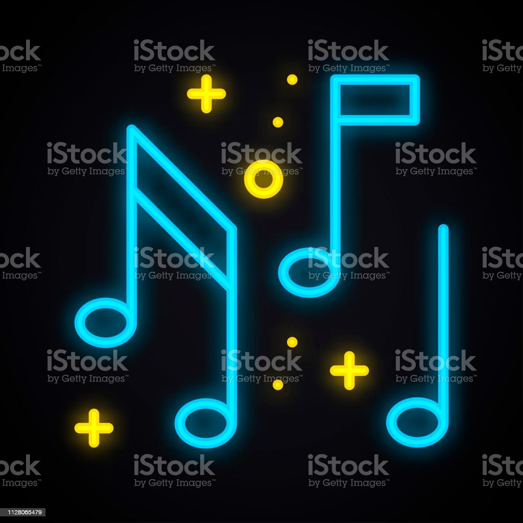 Neon Music Note Sign Glowing Karaoke Music Symbol Club