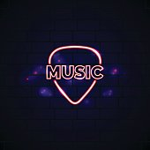 Neon music shop sign with plectrum. Glowing guitar shop vector emblem in line style.