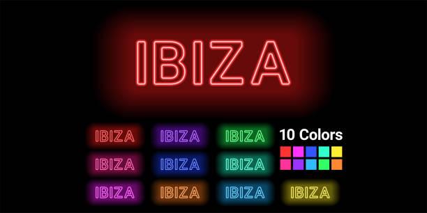 ilustrações de stock, clip art, desenhos animados e ícones de neon name of ibiza island - ibiza