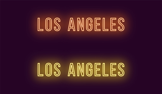 Neon name of Los Angeles city in USA. Vector text