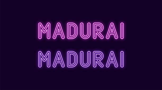 neon-name der stadt madurai in indien - madurai stock-grafiken, -clipart, -cartoons und -symbole