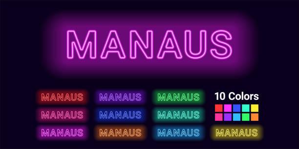 ilustrações, clipart, desenhos animados e ícones de nome de néon da cidade de manaus - manaus