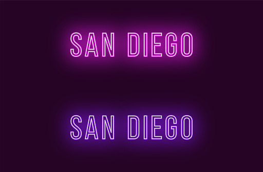 Neon name of San Diego city in USA. Vector text