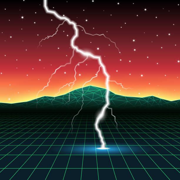 ilustrações de stock, clip art, desenhos animados e ícones de neon new retro wave computer landscape with lightning - greve